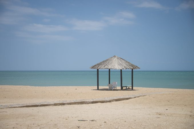 A beach hut along the northern Colombian coast in La Guajira