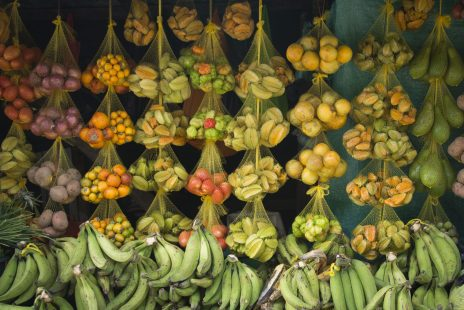 A colourful fruit stand in Leticia in the Colombian Amazon Rainforest