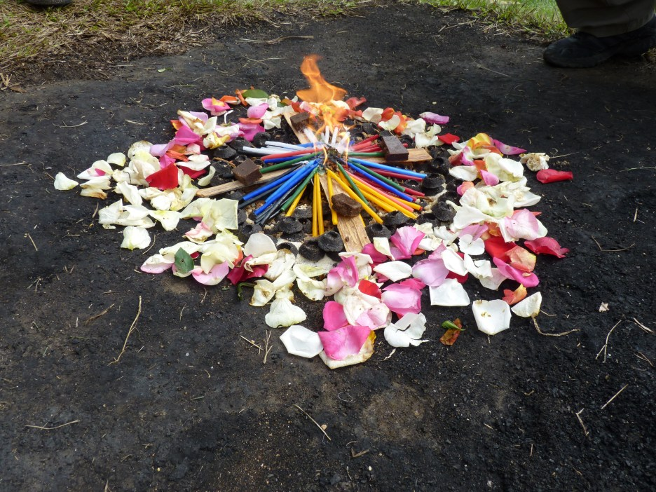 The ceremonial fire at Q'umarkaj near Santa Cruz del Quiché, Guatemala