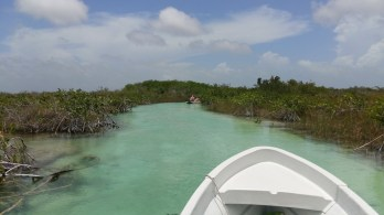 Cruising the ancient canal of Sian Kaan, Mexico