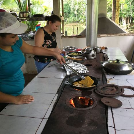 The ladies of Finca Sura cooking a delicious meal for us, Costa Rica
