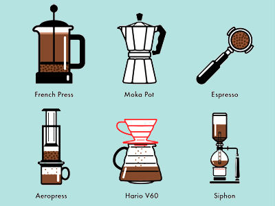 Various coffee brewing techniques used at Cafeoteca in San Jose, Costa Rica