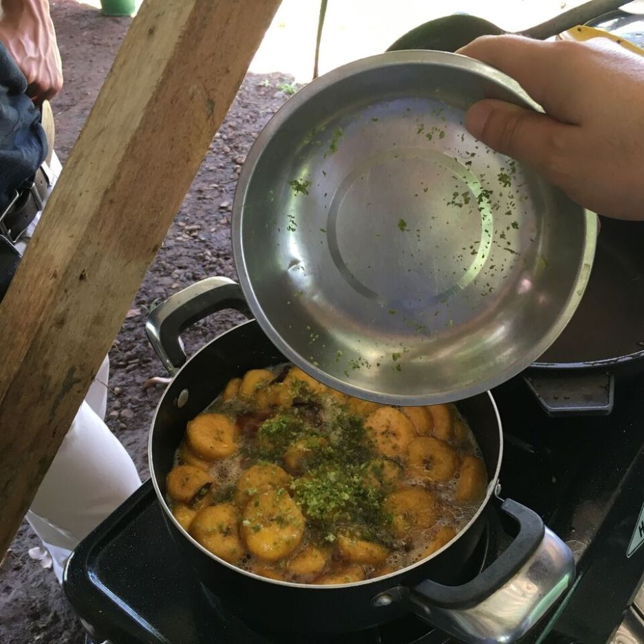 We learnt to make sweet plantains for desert in Juanilama, Costa Rica
