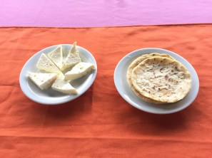 Home made cheese and tortillas during a cooking workshop with a rural family in Guatuso, Costa Rica