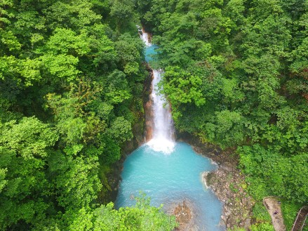 View over the Rio Celeste waterfall and lake
