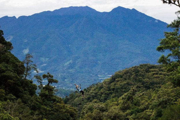 Doing some canopy in Boquete during a Panama tour