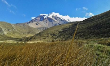 View of the Chimborazo in the Ecuadorean Andes