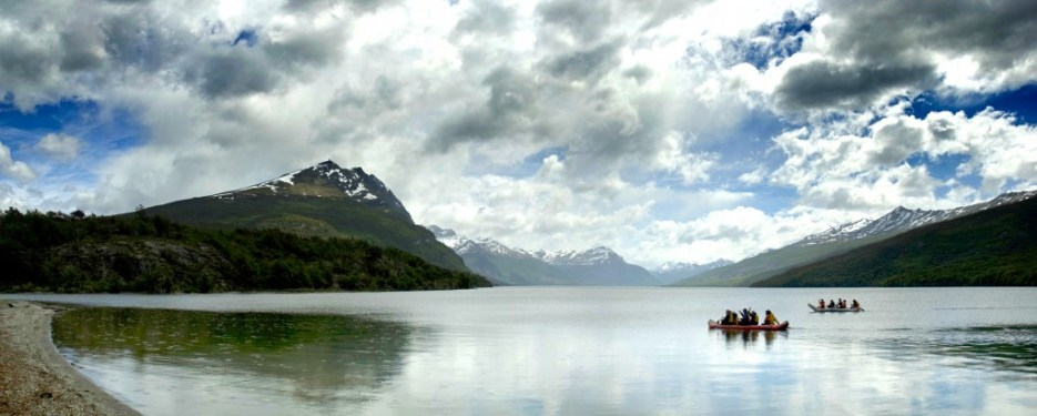 Kayaking in Lake Acigami in Tierra del Fuego National Park, Argentina