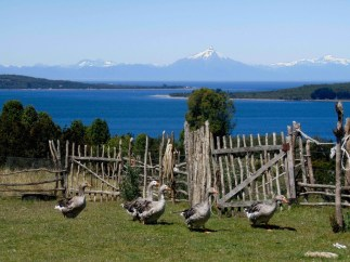 Rural tourism in Chiloe Island, withe the Corcovado Volcano on the background, Chile