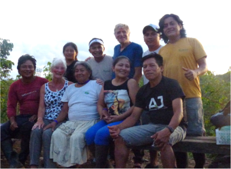 Abuela with her extended family and us, during a visit to their home in the Amazon jungle