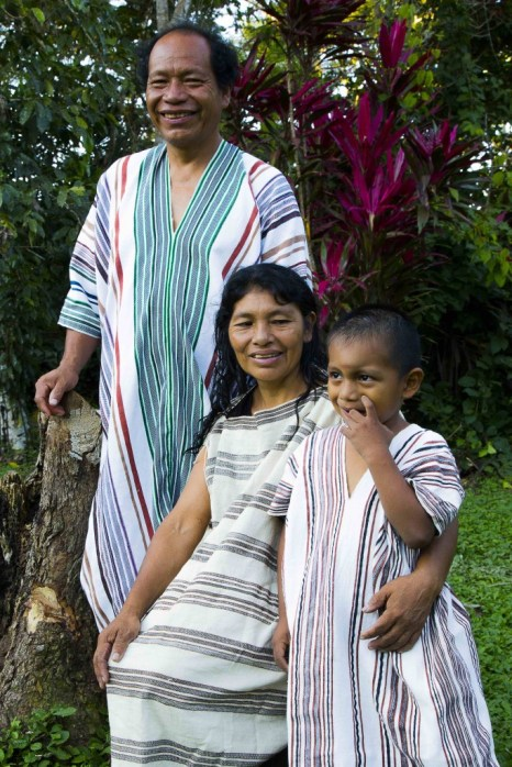 Flora, Gregorio and their son Jonathan, wearing cushmas (tunics)- a tradition they are rescuing, especially amongst youngsters