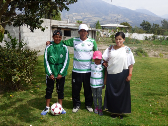 Our host family in La Calera- Delia, Naya, Yupanki and Oswaldo, for our homestay in Ecuador