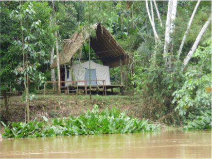 Our tent for our stay with the Mandari Panga community in the Amazon rainforest, Ecuador
