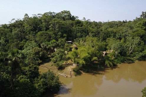 View over the Mandari Panga Camp in Yasuni National Park, in the Amazon jungle in Ecuador