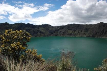 Having a break to admire the Quilotoa lake in Ecuador