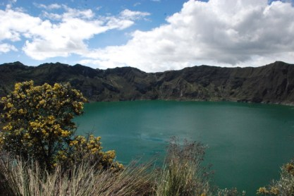 Having a break to admire the Quilotoa lake in Ecuador