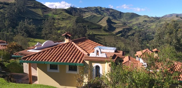 Views over the Andes mountains from the charming Llullu Llama Hostel, a stop in the Quilotoa Loop, Ecuador
