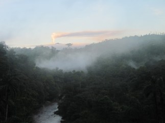 The Turrialba Volcano and Pacuare River, as seen from the Ave Sol Rio Sanctuaty in Costa Rica
