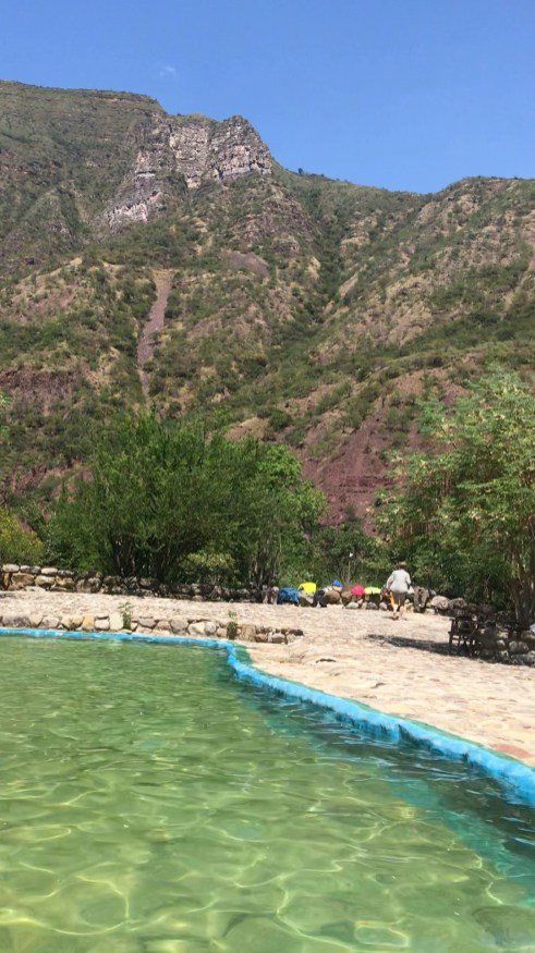 Cooling down in a natural swimming pool in Jordan, during the Chicamocha Canyon hike