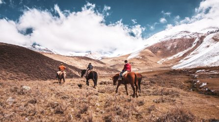 Horseriding with authentic gauchos in the mountains of the Andes in Argentina