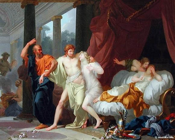 Socrate sottrae Alcibiade alla voluttà olio su tela di Jean-Baptiste Regnault – 1791 Museo del Louvre - Parigi