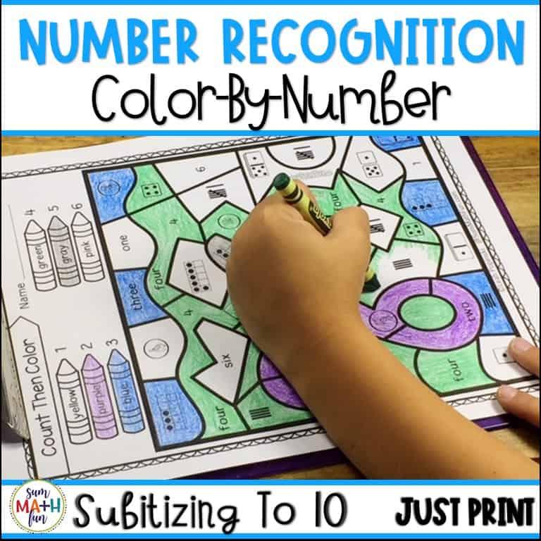 Subitizing Worksheets Kindergarten First Grades Color By Number