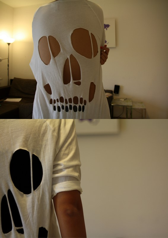 DIY Cut Out Skull Shirt