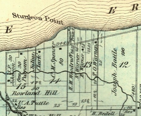 An 1873 map shows the Warner family's holdings in the area of Sturgeon Point, where the resort got its start just four years earlier.