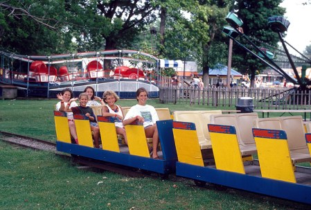 Passengers enjoy a ride on the railroad in the late 1990s.