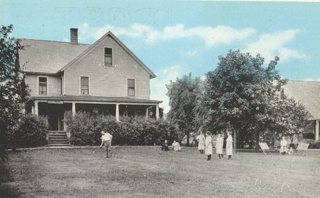 The Colonial Cottage was the four-room farmhouse that Nelson and Laura Warner built on their Geneva Township land. It later became known as the Hotel Colonial. From the David Tobias postcard collection.
