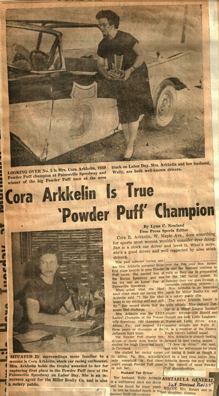 Closing the racetrack did not keep the Arkkelin family from driving. Cora went on to race in many powder puff events.