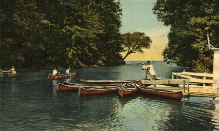 A postcard depicts a much larger Cowles Creek than exists today.