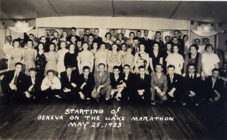 Participants in the Memorial Day dance marathon at Geneva-on-the-Lake pose for a photograph prior to the beginning of the torturous, inhumane event.