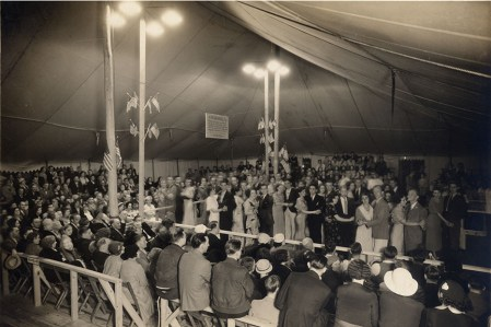 The marathon was held in a tent that was erected for that purpose.
