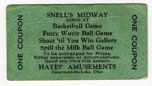 A midway ticket from the Olympic Midway, also known as Snell's.