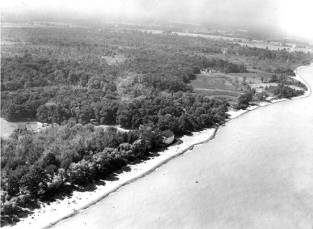 An aerial view of the lakeshore prior to construction of the Geneva State Park and Marina shows the width of the beaches, circa 1960s. Photo from the Ashtabula Star Beacon files.