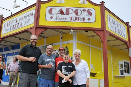 The Capo family pauses from making pizza to celebrate 50 years on The Strip. The celebration was held June 13, 2015.