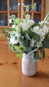 floral, vase, mason jar, green, white