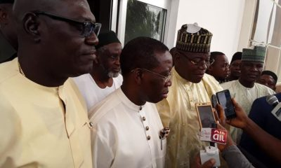 Delta State PDP Chairman, Barr. Kingsley Esiso; Delta State Governor, Dr. Ifeanyi Okowa and; Presidential Aspirant, Dr. Sule Lamido