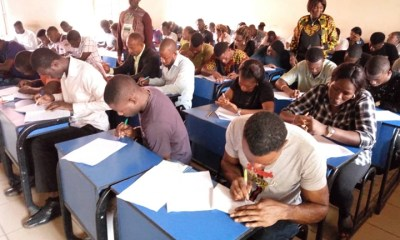 Cross-section of applicants taking the aptitude test organised by the Edo State Traffic Management Agency (EDSTMA) for the 250 job openings in the traffic agency, on Saturday, August 18, 2018, at the Imaguero Hall, in Benin City.