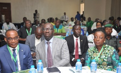 L-R: Managing Director/Chief Executive Officer, Presco Plc., Mr. Felix Onwuchekwa Nwabuko; Edo State Governor, Mr. Godwin Obaseki; and his wife, Mrs. Betsy Obaseki, at the Stakeholder Workshop on Sustainable palm oil development in Edo State by Tropical Forest Alliance 2020 Africa Palm Oil Initiative (TFA2020 APOI) in Benin City.
