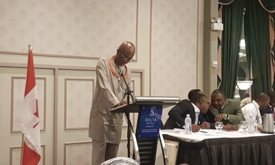Representative of Governor Godwin Obaseki and Special Adviser on Political Matters, Chief Osaro Idah, delivering the governor's address at the 27th Edo National Association Worldwide (ENAW) Convention, in Toronto, Canada.