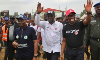 Delta State Governor, Senator Ifeanyi Okowa (right); Hon. Ndudi Elumelu (left) and Commissioner for Information, Mr. Patrick Ukah, during Delta State PDP Campaign, in Oshimili North Local Government Area.