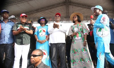 From Right: Delta State Governor, Senator Ifeanyi Okowa, his wife, Dame Edith, the Deputy Governor, Barr. Kingsley Otuaro, his wife, Dr Ebiere, the DG. Delta State Peoples Democratic Party Campaign Organization, Rt Hon Funkekeme Solomon, and the Vice Chairman of the Campaign Council, Hon Ned Nwoko, during the 2019 General elections campaign at Aniocha South LGA.