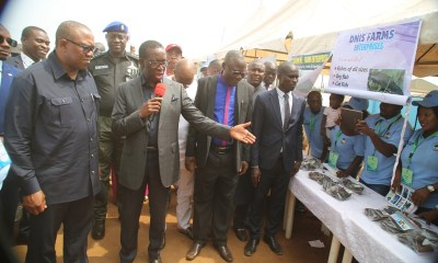 Delta State Governor, Senator Ifeanyi Okowa (2nd left), introducing some of the products to the Vice Presidential Candidate of the Peoples Democratic Party (PDP), Chief Peter Obi (left), during the Job Creation Exhibition in Asaba.