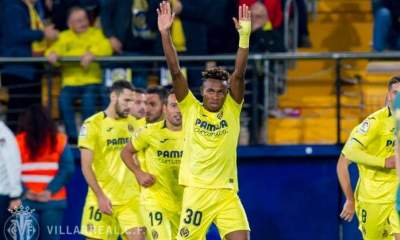 Villarreal's Samuel Chukwueze after Scoring Against Barcelona