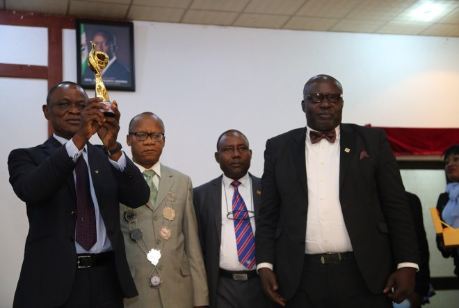 From left; Representative of the Governor, Commissioner for Higher Education, Prof. Patrick Muoboghare; National President (ISMN), Dr. Emman Oyeka and the State Chairman (ISMN), Sir. Frank Apokwu, during the 2019 Annual Conference and General Meeting of Institute of Strategic Management, Nigeria (ISMN) Delta State Chapter.