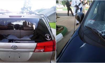 Damaged vehicles after thugs attacked Edo State Governor, Mr. Godwin Obaseki, Oba of Lagos, Oba Rilwan Akiolu, and other guests at the the residence of former Governor of Edo State and National Chairman of the All Progressives Congress (APC), Comrade Adams Oshiomhole.