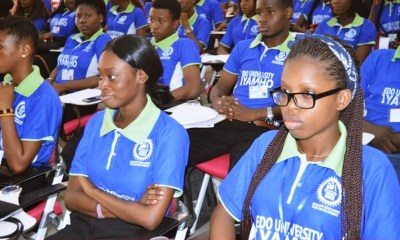 New Students of Edo University Iyamho under-going Orientation