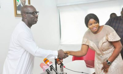 Edo State Governor, Mr. Godwin Obaseki (right), and the Chairman, Esan West Local Government Area, Hon. Ruth Osahon Okunwe, after the chairman's swearing-in by the governor, at the Government House, Benin City.